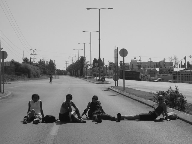 Yom Kippur 2003, on the main road between Acco and Nahariya. Andrea, Erica, myself and Lotti.