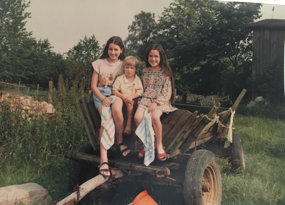 Me, Dylan and Karli hanging out on an old wagon