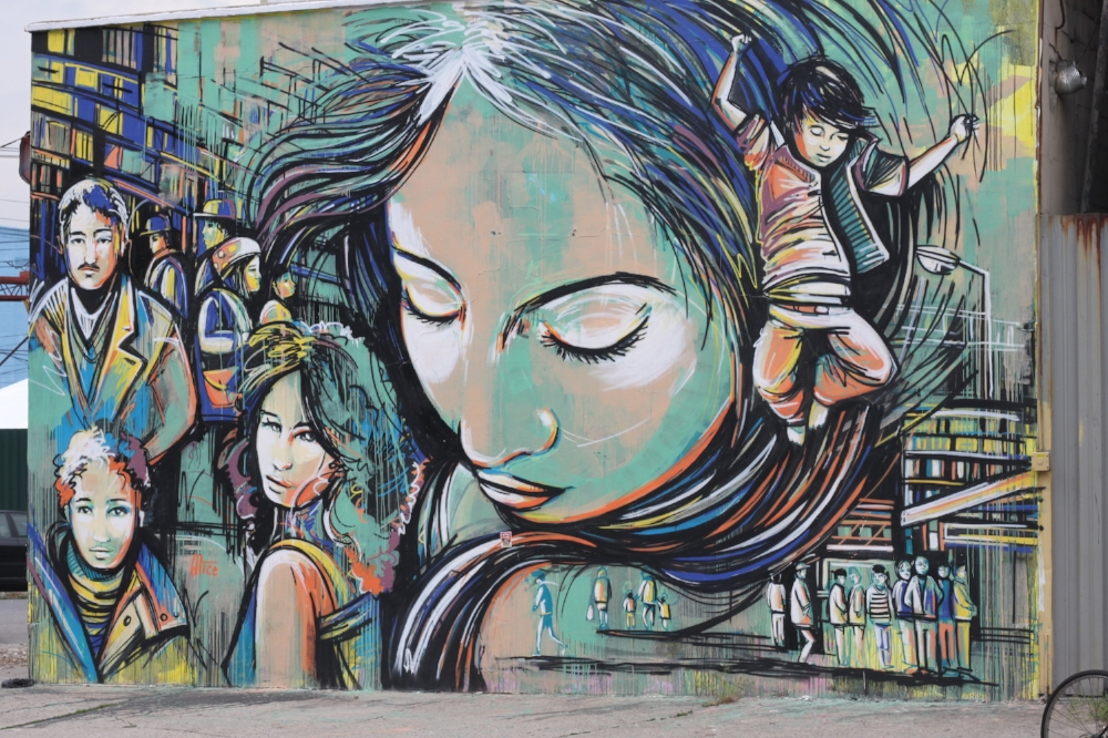 Beautiful mural at the end (beginning?) of Troutman St in Brooklyn, around 2013.
