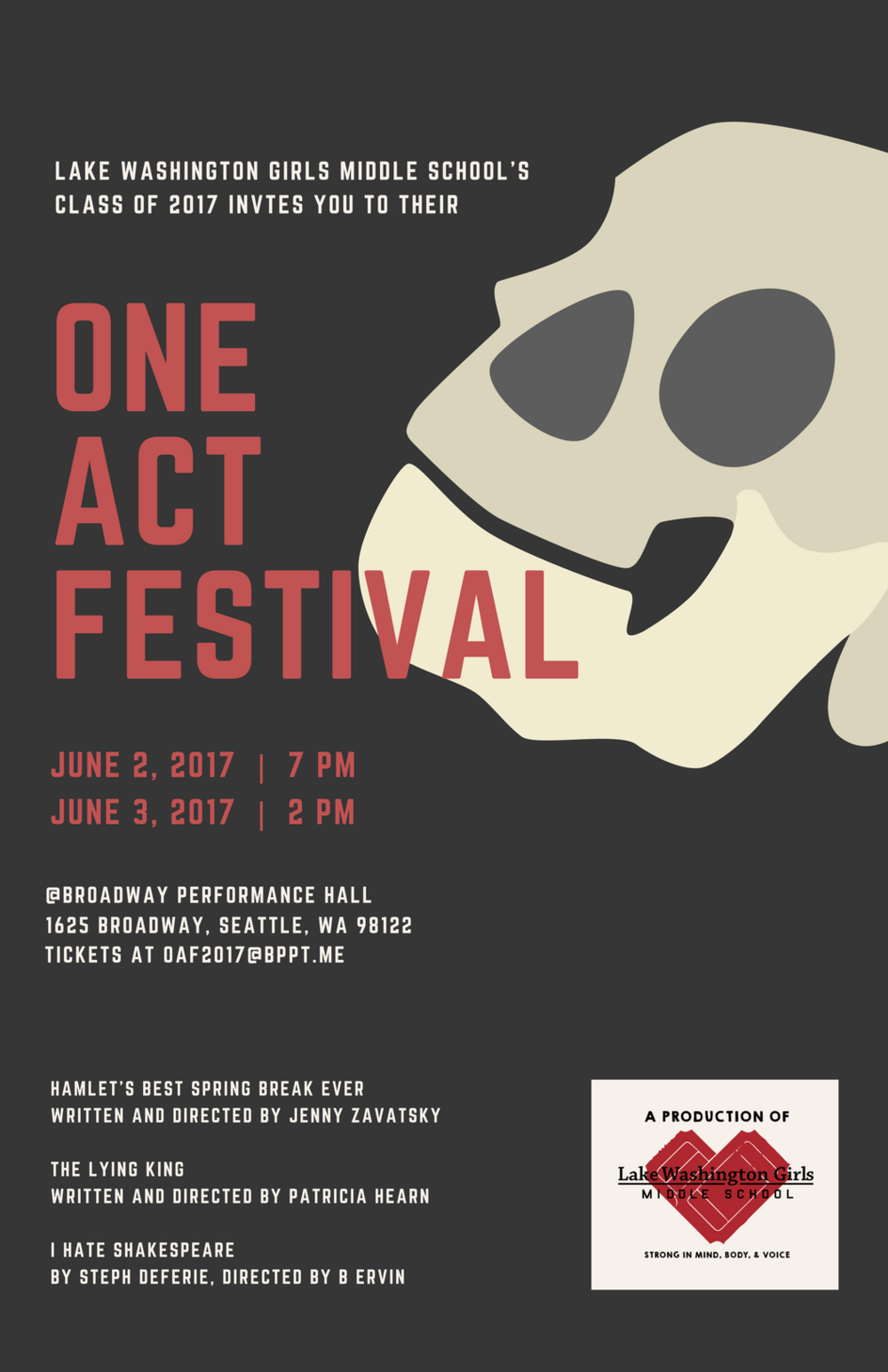 Lake Washington Girls Middle School One Act Festival, 2017