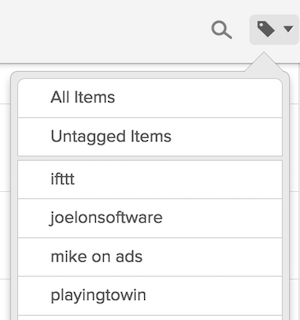 """In pocket you can sort by tagsto find your """"book"""". This is especially usefuloffline (subway or traveling)."""