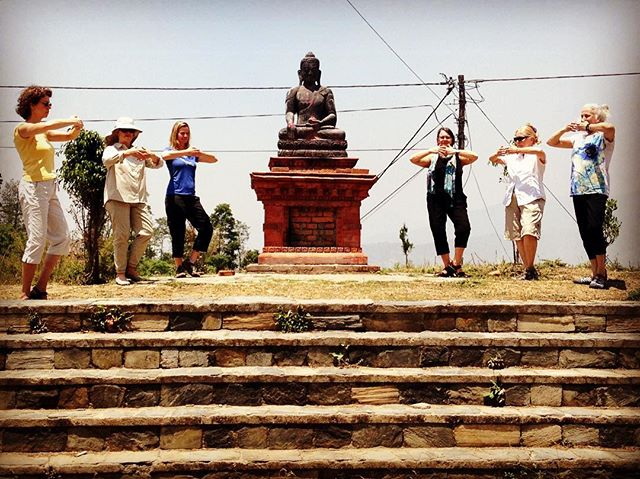 Cosmic Consciousness Pose in Nepal with @aprilleffler & Co. ....#taichichih #tcc #joy #mindful #movingmeditation #justinstone #minimalisim #taichi #qigong #movement #meditation #mindbody #grounded #health #gratitude #happylife