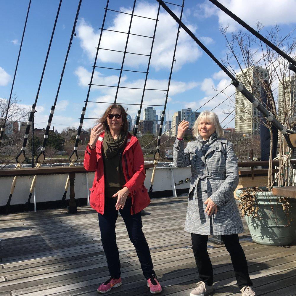 New UK Teachers, Laurin McDonald & Lesley Nell, on the deck of the Moshulu in Philadelphia