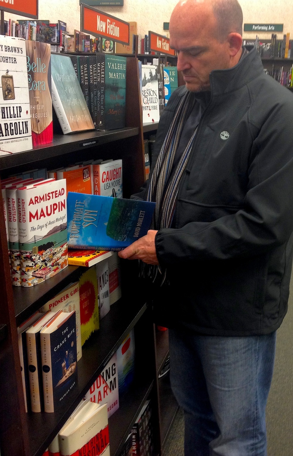 David Marlett signing copies of FORTUNATE SON at a Barnes & Noble