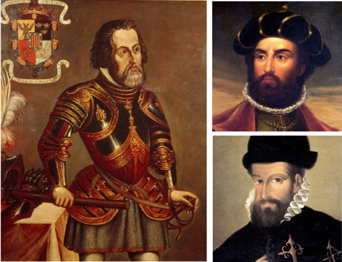 Left Magellan, top right Da Gama, lower right F Pizarro