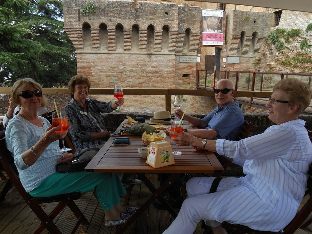 Margaret Cantwell, first left, enjoying an aperitif with group members on the September 2016 'Classic Italy Coast to Coast' tour