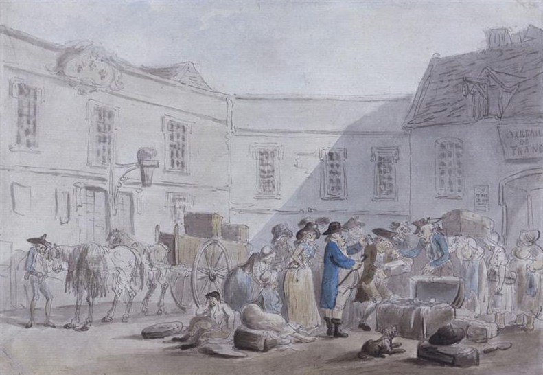 The Customs House at Boulogne by Thomas Rowlandson 1790's