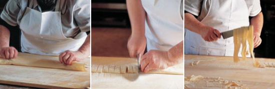 Use a pasta machine or cut the dough into equal portions