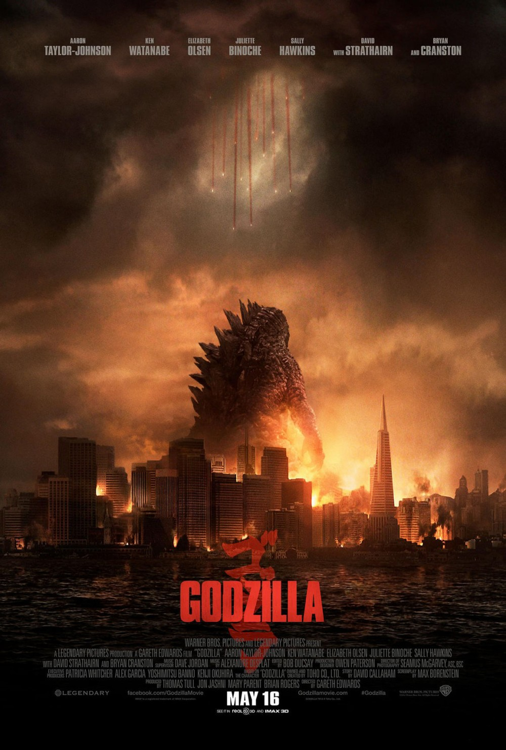 There are more well-designed and more unique posters that have been out this year, but in the context of film marketing and overall visual aesthetics, this poster soars above the rest. This is a beautiful and striking poster that shows the scale and magnitude of Godzilla like no others have.  Dead center, the focus of attention is clearly Godzilla, who towers above a city that is in the process of being destroyed. From the heavens descend a few pinpricks of light, ready to take on the gargantuan threat below. If you've seen the poster that preceded this (next in the slideshow), you'd know them to be people, but here it could be anything (for better or worse).  Either way, this poster conveys such an ample threat and shows just how huge the stakes are right away. You come to this film to see a gigantic nuclear lizard fuck up a city, and see a bunch of tiny humans try to stop it. It's classic giant monster goodness wrapped up in a nice modern package.   The movie itself turned out to be a bit of a letdown, and Godzilla isn't NEARLY as tall in the film as he is in the poster, but still, what an image this is! Nicely done, Godzilla marketing team.  This film had a genuinely stellar marketing push overall. Click through to see a few more nice posters, including a great IMAX poster at the end.