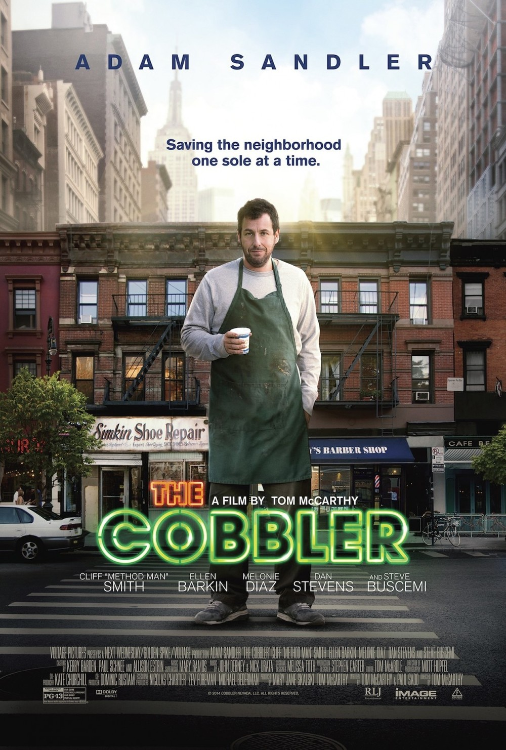 A huge, comatose Adam Sandler stands awkwardly in the middle of a street looking like a dumb jerk. Nothing is cobble-y about this poster, except for the elements they cobbled together to make it.