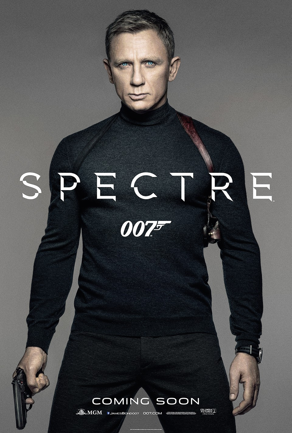 WHY IS THIS SO BORING?! This is James Bond, and he's just standing stonefaced in front of an unbelievably gray background. The only exciting thing happening here is that he's holding a gun which is safely pointed down where it couldn't possibly shoot any bad guys. THIS POSTER IS BULLSHIT.