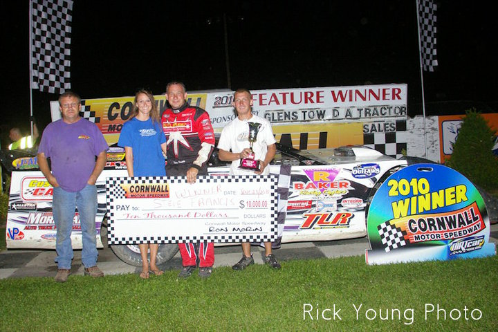 Tim Logan (left) with Amanda and Steve Francis (middle) at Cornwall Motor Speedway in Victory Late during the 2010 season