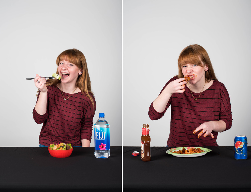 Little behind the scenes, I actually hate the chicken strips that I was eating because they're super spicy so I was DYING when I was eating them and my whole face was super red and stinging when I was done. Another fun fact, someone left the water bottle in the studio so I just stole it for my shot. Also, I bought the salad a few hours before the shoot and it was super warm and limp and I ate a piece that was on my fork and it was disgusting.