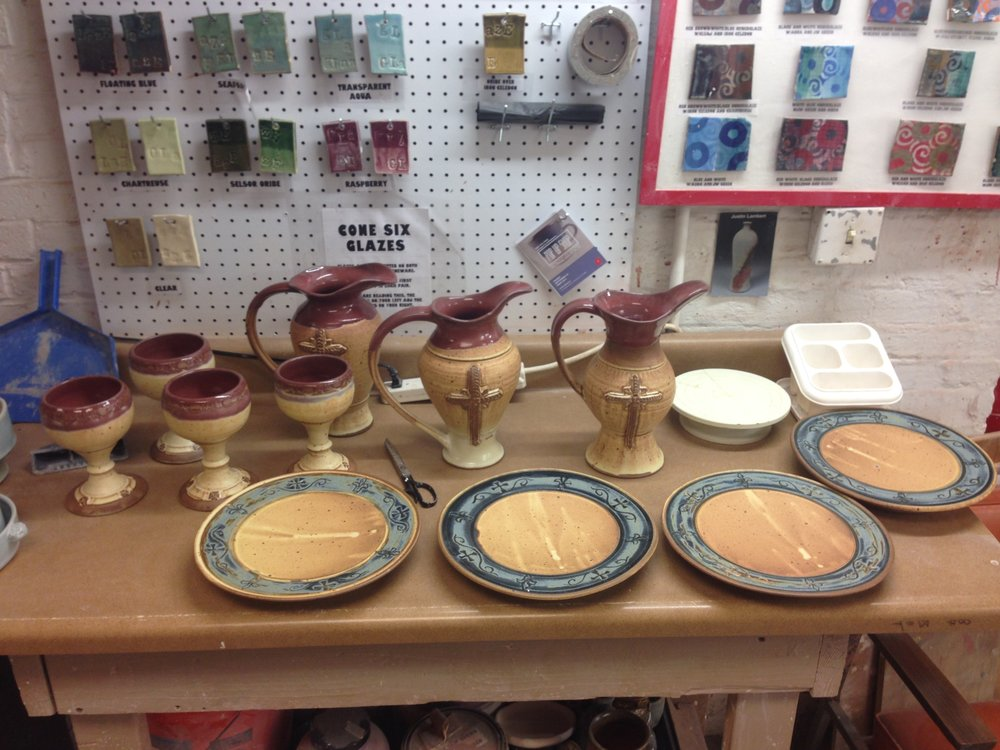 A quick an dirty picture of a custom communion set I just fired.