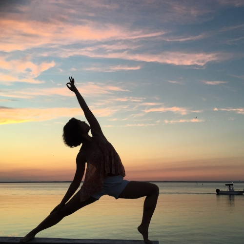yoga lunge sunset