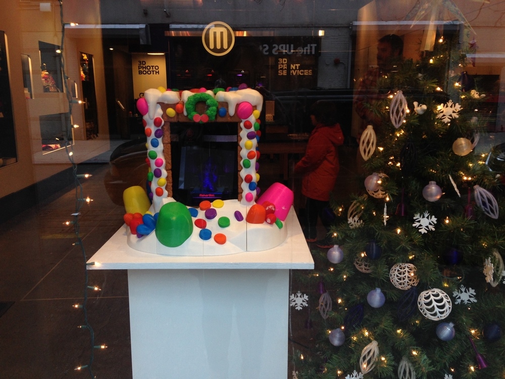 I spy a gingerbread house 3D printer at the MakerBot store in New York City!