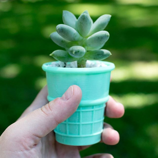 Still perfecting the 3D printed ice cream planters. Hoping to have these up to print at home next week! #plantlady #3dprint #3dprinting #thingiverse #succulents #succulent #leafladies #botanicalpickmeup #urbanjungle #urbanjunglebloggers #jungalowstyle #jungalowhome #plantgoals #livingwithplants #houseplantclub