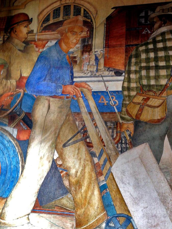 Beach Chalet mural in detail - a dock worker