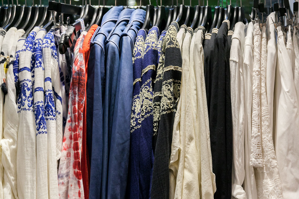 An array of embroidered tunics with a leather jacket option at GBG, Carmel, CA.