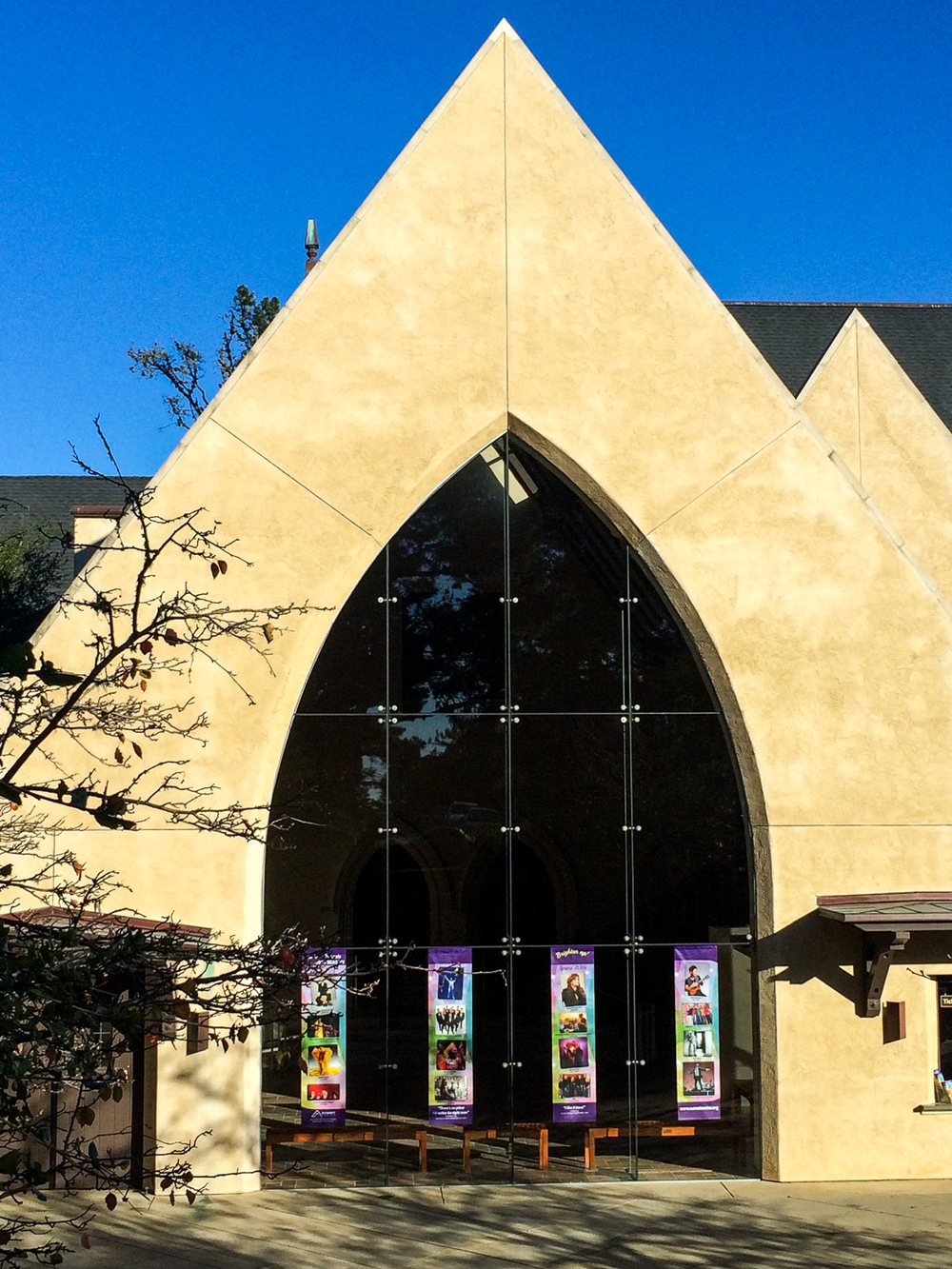 Late Gothic Revival architecture is just one of the many charms that the Sunset Center in Carmel, CA has to offer visitors.
