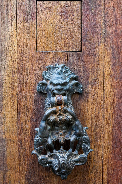 A handsome and fearsome door knocker. Italian perhaps?