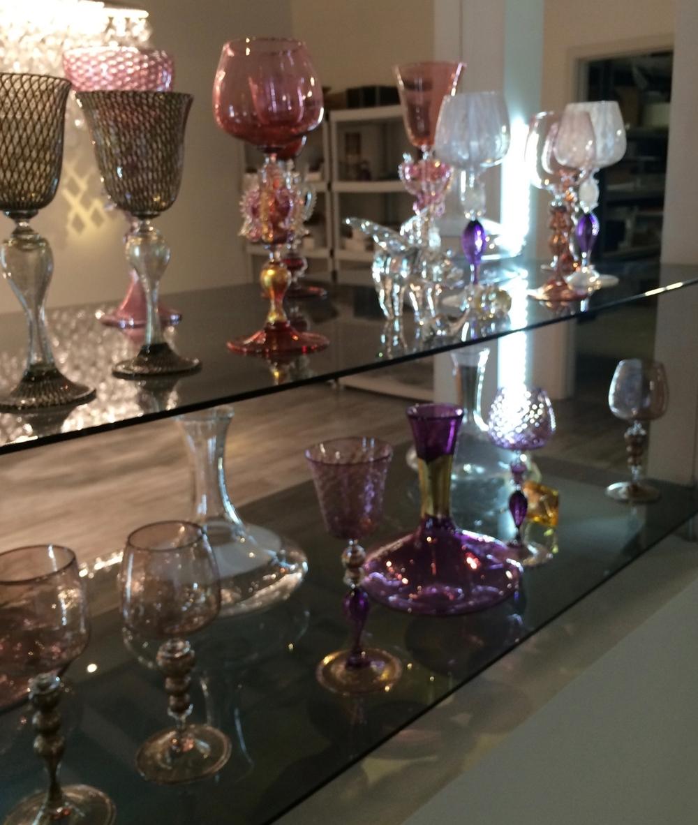 Some of their goblet designs at Studio Bel Vetro.