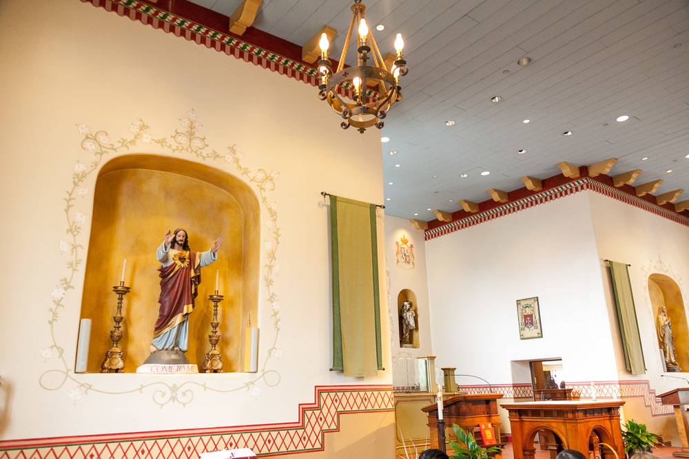 The beautiful interior of the San Carlos Cathedral in Monterey, CA.