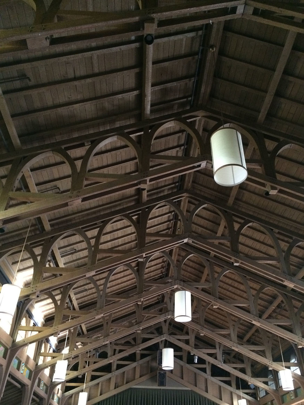 Great hall ceiling beams at Asilomar.