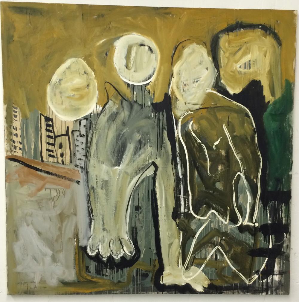 "4411 MONTROSE, oil on canvas, 48""X48"". 2014"