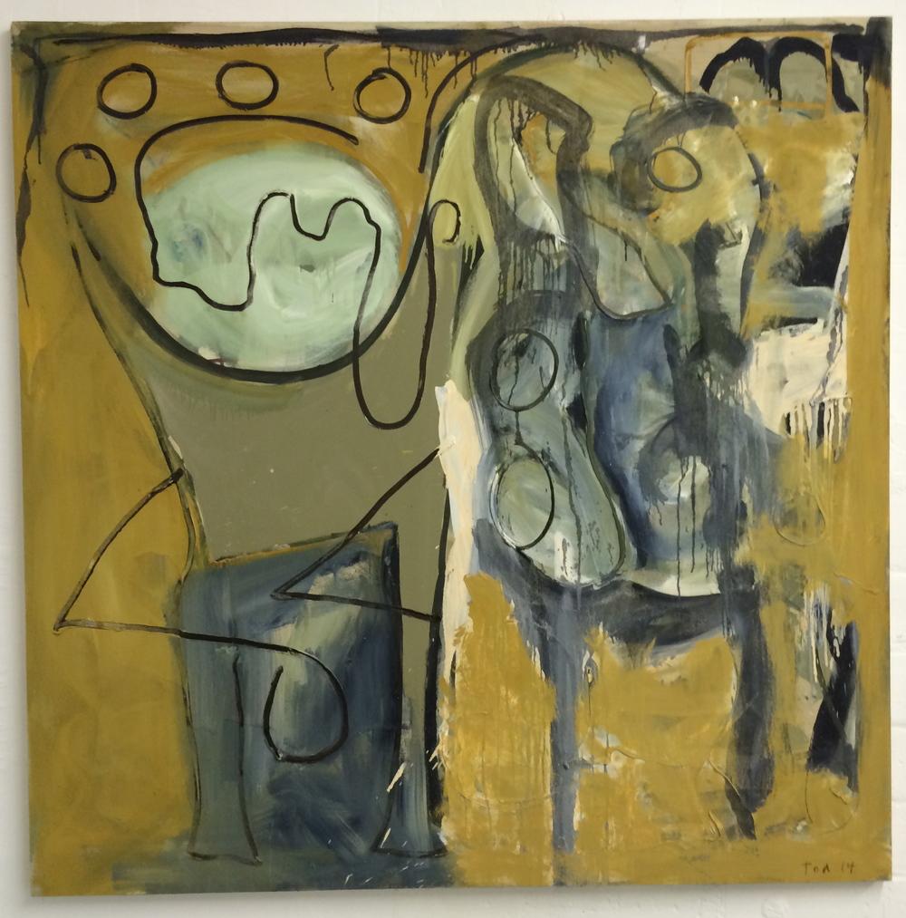 "MASTER BATHROOM, 48""X48"", oil on canvas. 2014"
