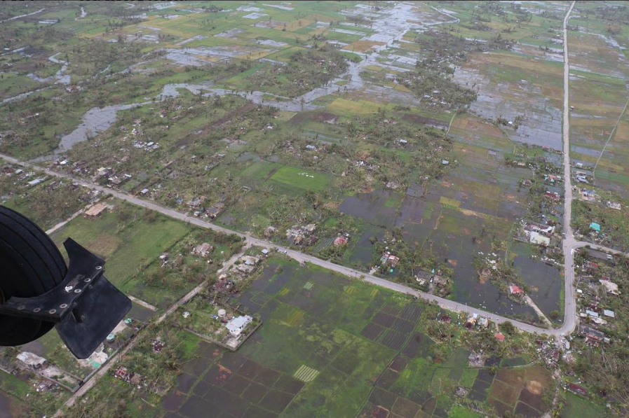 "Aerial shot of Les Cayes.    410 Bridge country director stated it looks ""like a bomb went off."" He reports that he has not seen any major distribution of relief supplies by any other organization."