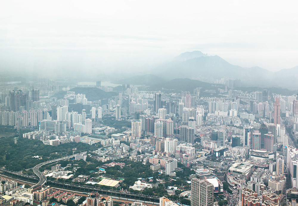 View of Shenzhen from the St. Regis Hotel lounge, top floor of the KK100 tower