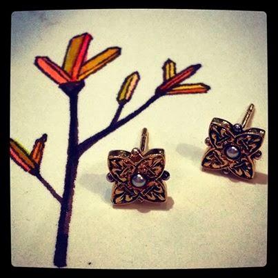 Rose gold engraved fleur de lis stud earrings