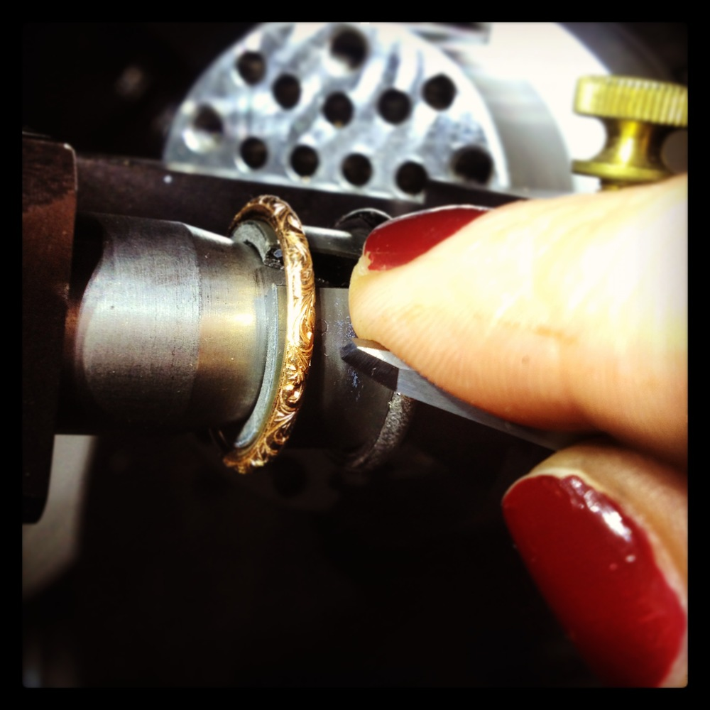 Victoria Hand Engraving a delicate rose gold wedding band
