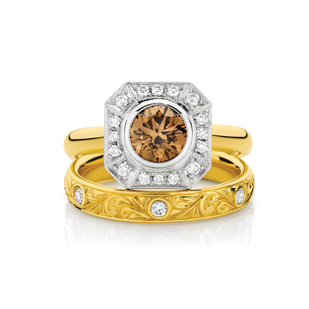 Yellow Gold Champagne Diamond Tatiana Engagement Ring