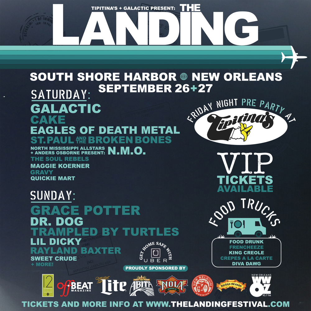 Anders will be performing twice at THE LANDING FESTIVAL in New Orleans later this month! The first performance will be as a special guest at the festival pre party at Tipitina's on Friday September 25th. Only people who buy 3-Day passes to the festival will be able to attend this exclusive party at Tips! Get tickets HERE! The second performance will be with N.M.O. on Saturday September 26th at New Orleans' South Shore Harbor during the actual festival! Tickets, full line up, parking passes, food trucks and more info can be found at www.TheLandingFestival.com. See you there!