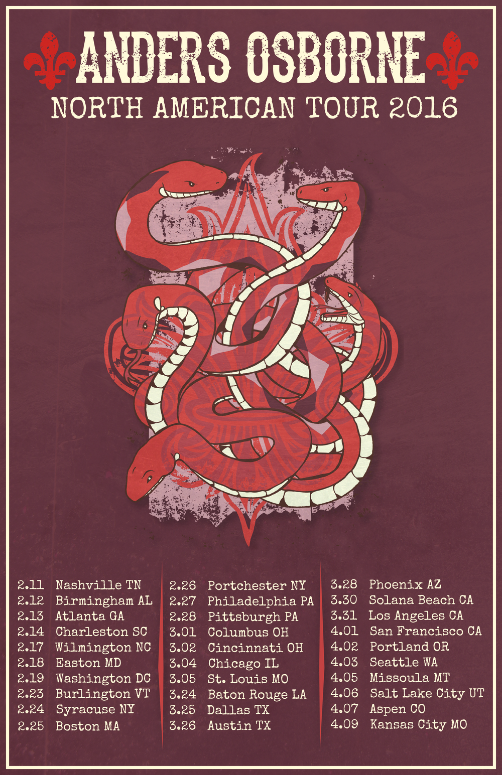 "Anders Osborne North American Tour 2016!   Anders and company will be hitting the road starting this February and trekking across the US until the middle of April. Special fan club VIP tickets are available now and include a soundcheck meet and greet, a signed silk screen limited edition poster, and an exclusive tour laminate. See below for links and use the password ""ANDERS"".   GET FAN CLUB TIX HERE   See you on the road!  -TeamAO"