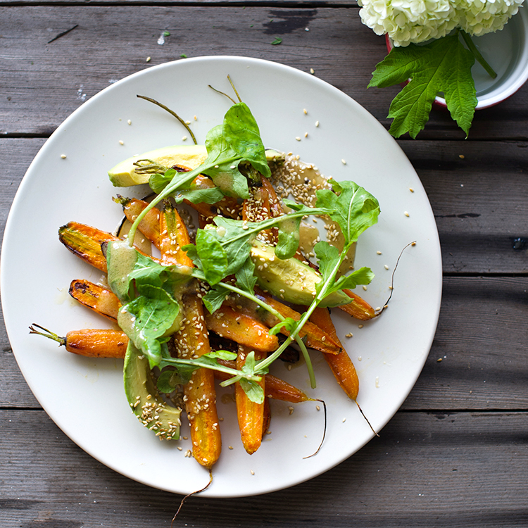 Roasted Carrot & Avocado Salad