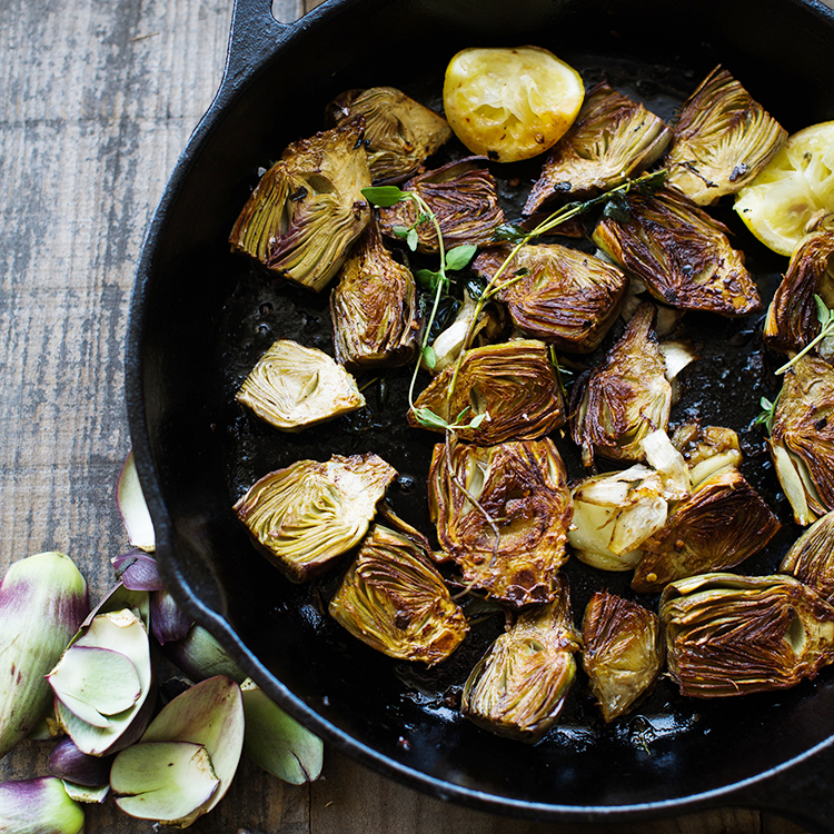 Pan Roasted Baby Artichokes + Lemon Aioli