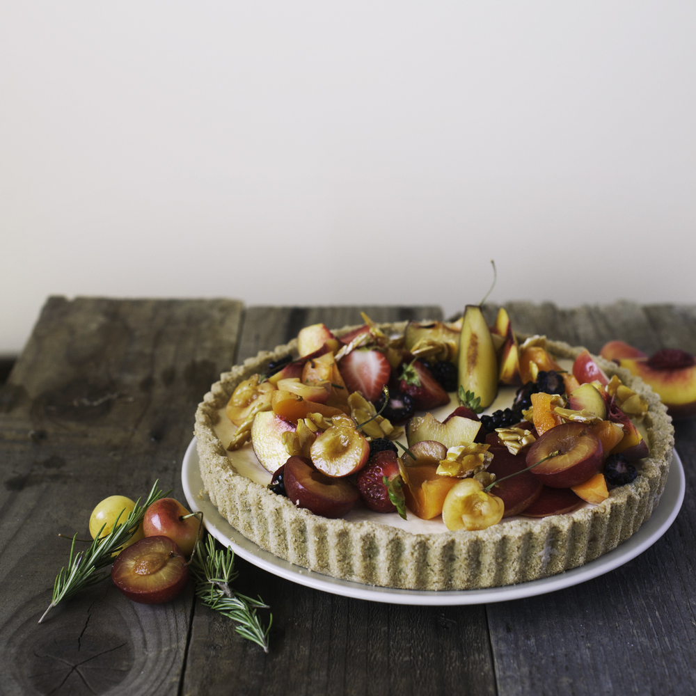 Rosemary & Stone Fruit Panna Cotta Tart
