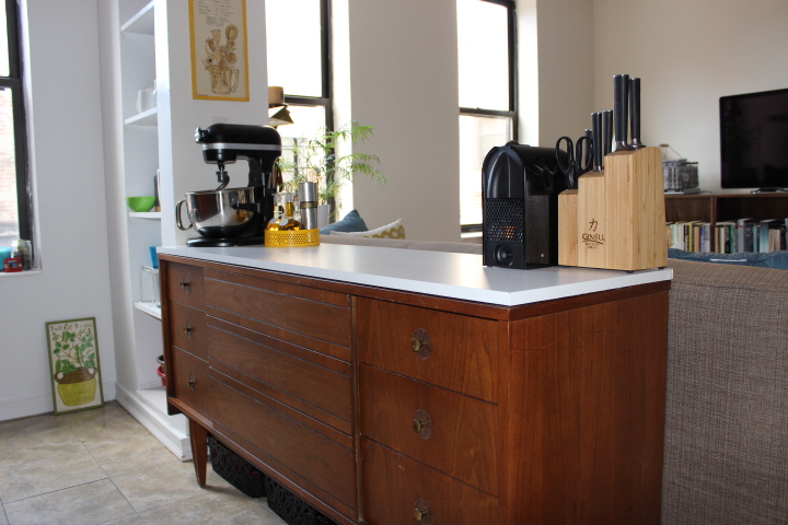 Turn A Dresser Into A Kitchen Island With No Tools Once