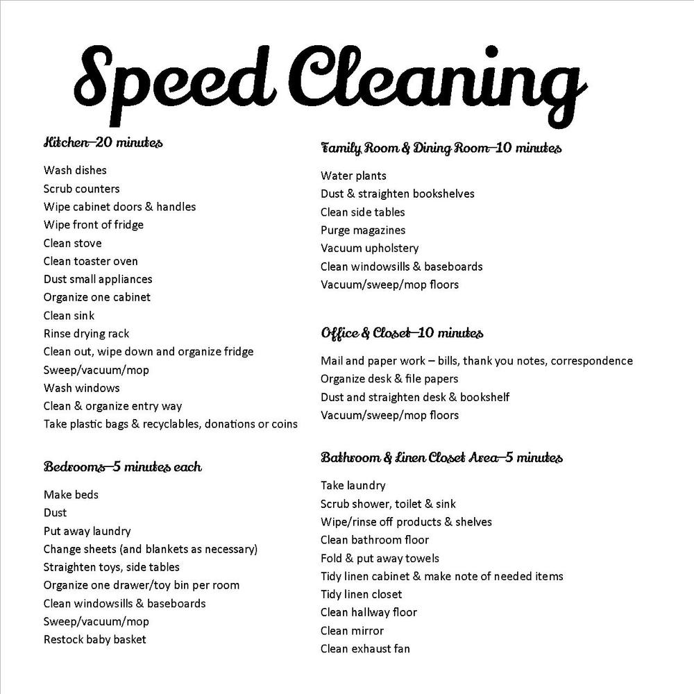 cleaning list