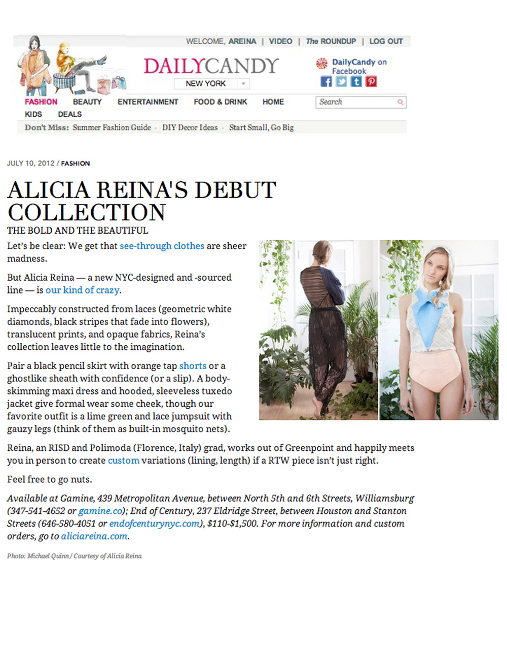 Alicia Reina's Debut Collection