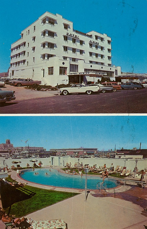 Overlooking the Ocean-Boardwalk at Second Ave. Asbury Park, N.J.  Asbury's Newest and Only 100% Fireproof Hotel & Motel  Air-Con. - TV - Hi Fi  Floridian Swimming Pool on Premises  Tel. PRospect 6-8300     N.Y. Phone - DIgby 9-1199