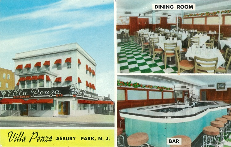 Back caption:  Villa Penza  Air-Conditioned Bar & Restaurant  238 Cookman Ave., Asbury Park, N.J.  One Block from Boardwalk  In the Center of the Theatre District.  Finest Italian-American Foods  Visit Our Pizza & Marina Rooms  Gavino Vecchione & Sons, Your Hosts