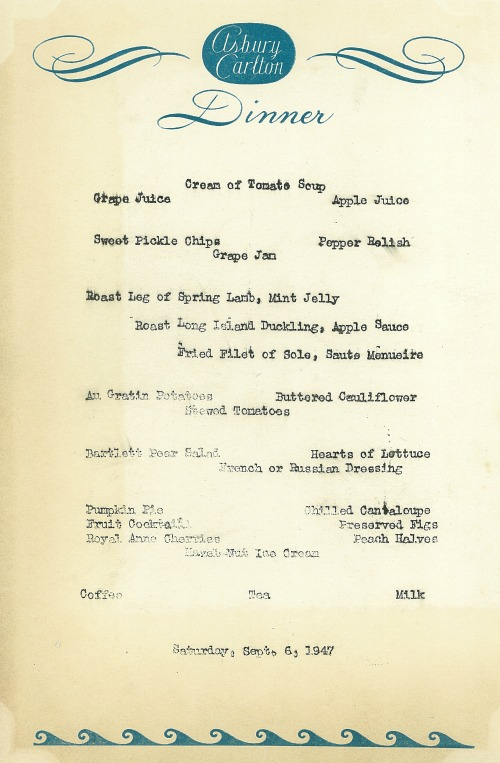 Dinner Menu, The Asbury Carlton Hotel