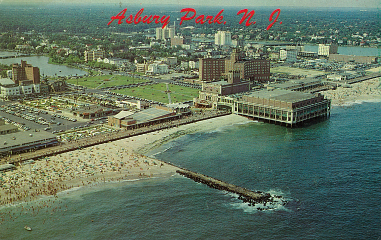 An aerial view of the boardwalk Convention Hall