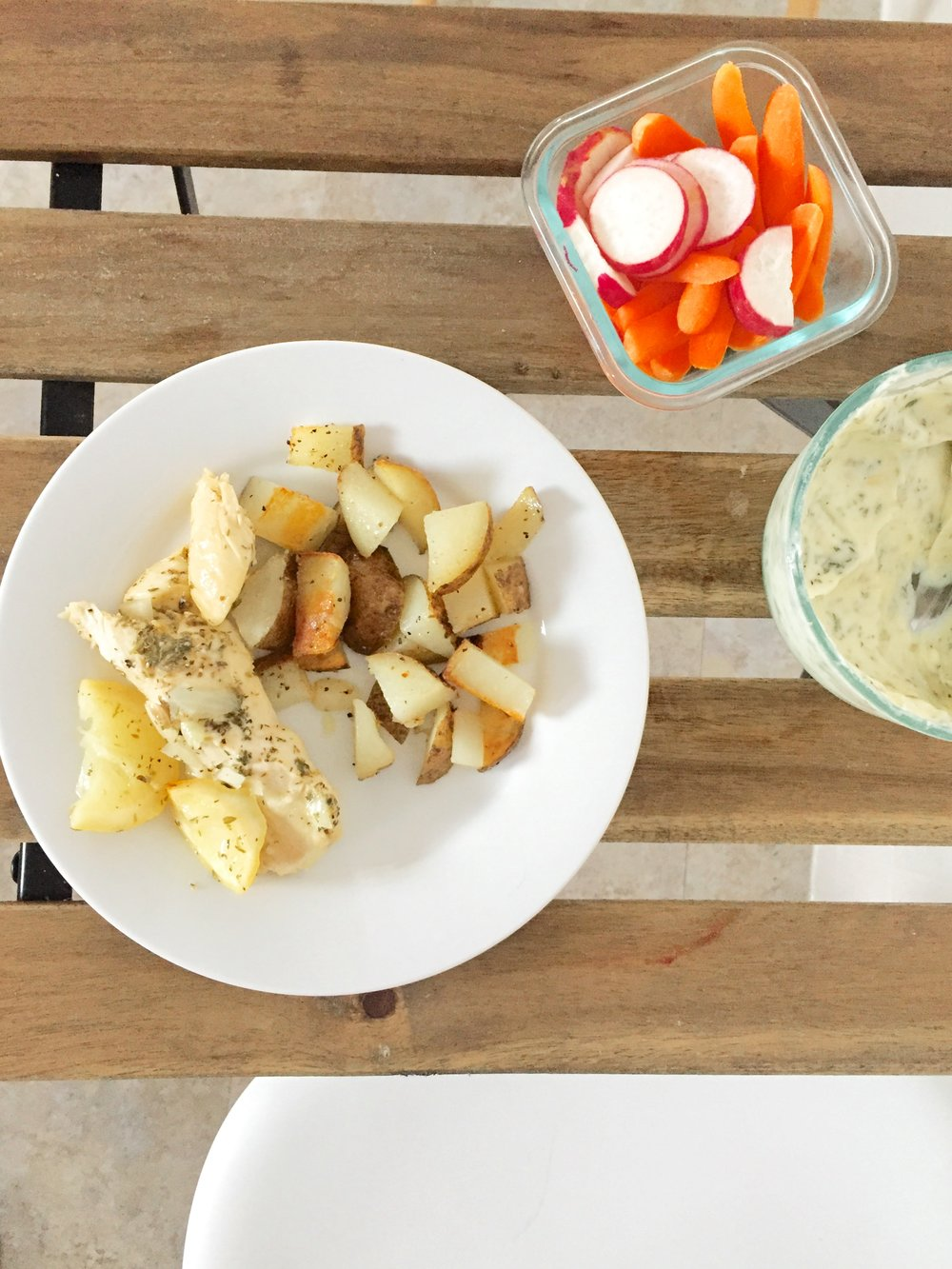 Lemon chicken, roasted potatoes, and carrots + radishes with ranch