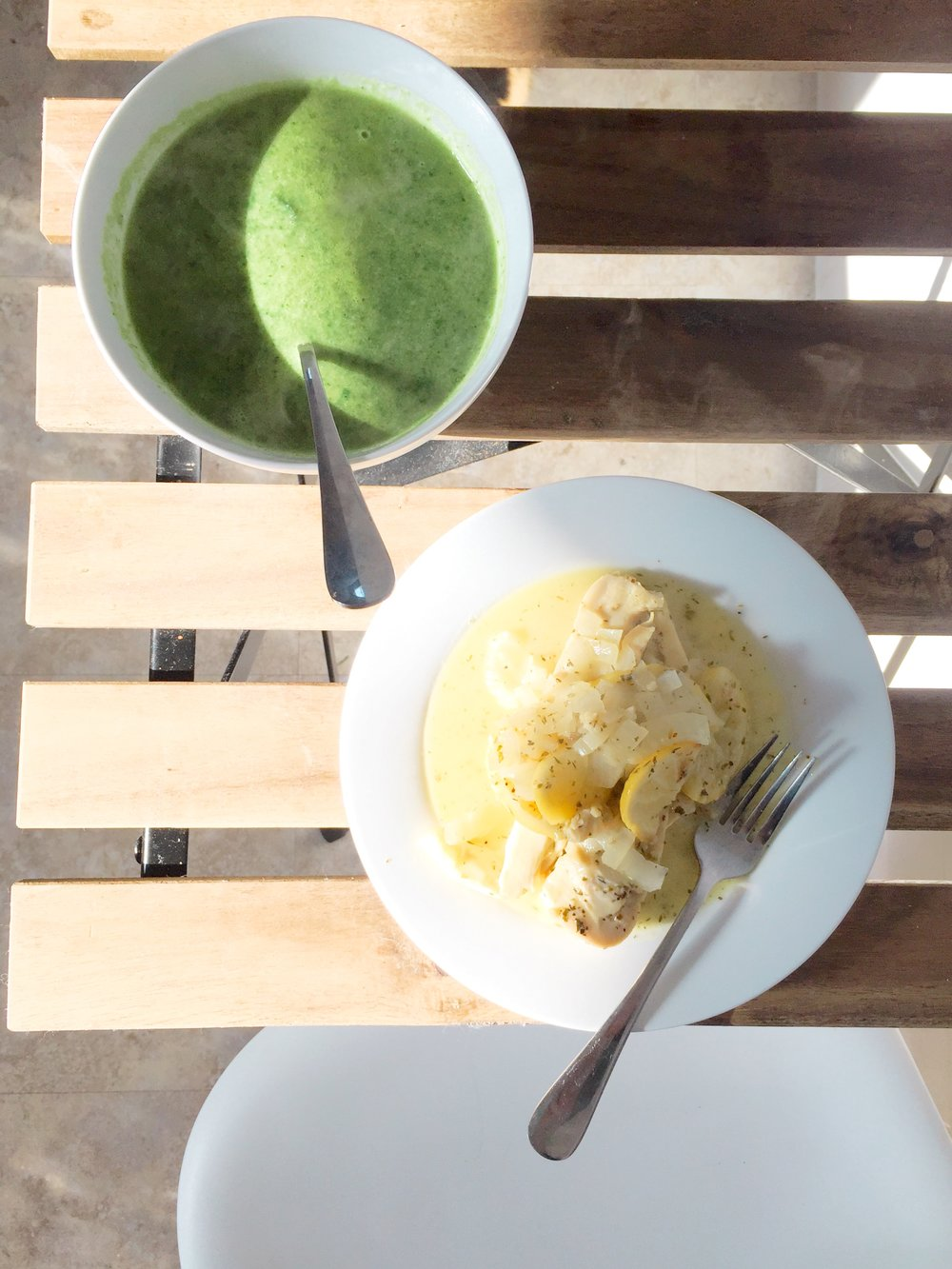 Lemon chicken and broccoli and spinach soup made with coconut milk