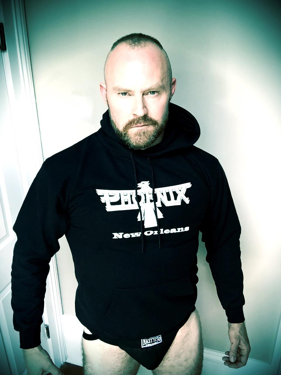 Jeff models the Phoenix hooded sweatshirt. On sale NOW in COK.